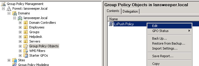 editing a group policy