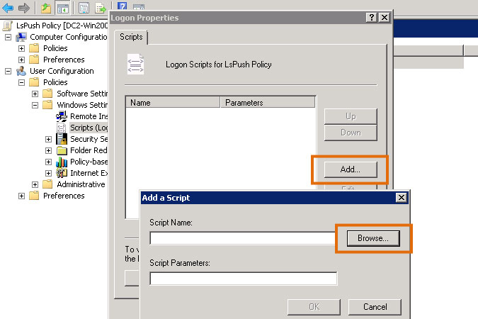 selecting a script for a logon based group policy
