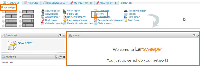 Sharing information with the News widget   Lansweeper   IT
