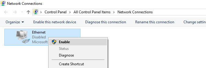 enable a network connection